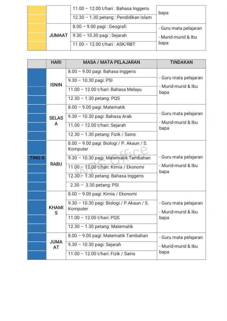 Makluman Cadangan Jadual Waktu Pengajaran Dan Pembelajaran Alternatif Pdpa Jarak Jauh Semasa Pkp Fasa 3 Smka Sharifah Rodziah